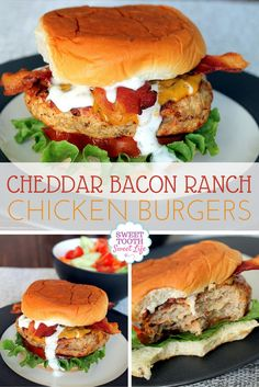 These chicken burgers with cheddar cheese and bacon are healthy, quick and easy to make and because they're made with ground chicken, it's easy to turn them into chicken meatballs instead!