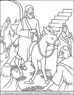 Jesus Enters Jerusalem In This Palm Sunday Coloring Page
