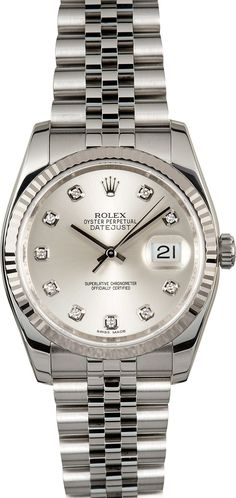 Manufacturer: Rolex   Model Name/Number: Datejust 116234   Serial/Year Random - 2010 or Newer   Grade: (What's This?) II   Gender: Men's   Features: Automatic 3135 movement w/date, 31 jewels, Quickset, scratch resistant sapphire crystal, waterproof screw-down crown   Case: Stainless steel w/ 18k white gold fluted bezel (36mm), inner reflector ring engraved w/ serial number   Dial: Silver Diamond   Bracelet: Stainless steel Jubilee w/ hidden clasp   Box & Papers Original Rolex box,