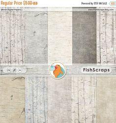 SALE  Birch Wood Digital Paper Rustic Wood Grain by FishScraps