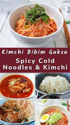 ot kimchi in the fridge! Try making this spicy, slightly sweet, savory and tangy cold noodle dish. It's simply made with kimchi and a few staple seasoning ingredients! Vietnamese Recipes, Thai Recipes, Asian Recipes, Korean Food, Chinese Food, Korean Rice, Korean Noodles, Cold Noodles, Kimchi