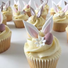 ears from white chocolate recipes ideas recipes ideas families recipes ideas healthy recipes ideas sides recipes ideas simple easter brunch easter dessert easy Easter Bunny Cupcakes, Easter Cookies, Easter Treats, Flower Cupcakes, Cupcake Recipes, Cupcake Cakes, Dessert Recipes, Yummy Cupcakes, Mocha Cupcakes