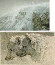 """""""Arctic Cliff - White Wolves"""" Premier Edition 2 Print Suite by Robert Bateman"""