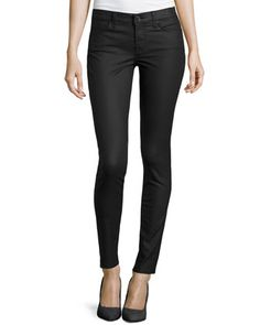 Gwenevere Coated Skinny Jeans, Black by 7 For All Mankind at Neiman Marcus Last Call.