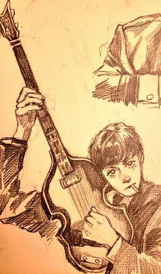 Cartoon Kunst, Cartoon Art, Beatles Art, The Beatles, Beatles Guitar, Pretty Art, Cute Art, Character Art, Character Design