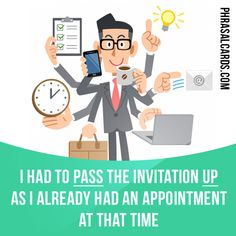 """""""Pass up"""" means """"to choose not to take the opportunity or accept the invitation"""". Example: I had to pass the invitation up as I already had an appointment at that time. Get our apps for learning English: learzing.com"""