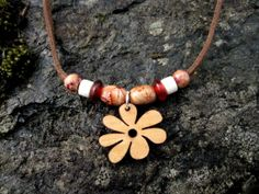 Wood Flower Necklace SALE by SmithNJewels on Etsy, $10.00