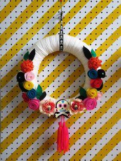 "sugar skull | Sugar Skull Halloween 14"" Wreath in Ivory with Colorful Felt Flowers ..."
