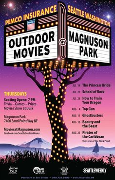 Movies at Magnuson - outdoor movie ideas Outdoor Movie Party, Outdoor Movie Nights, Backyard Movie, Movie In The Park, Seattle Travel, Outdoor Cinema, Game Prizes, School Of Rock, Cinema Posters