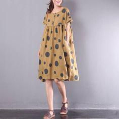 Women sundress printed dress with dots, linen tunic leisure dress pleated dress summer dress plus si Perfect Prom Dress, Beautiful Prom Dresses, Pretty Dresses, Linen Dresses, Cotton Dresses, Loose Dresses, Plus Size Dresses, Plus Size Outfits, Linen Tunic