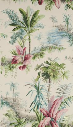 My new favourite paper Alexandrie by Pierre Frey Fabric Wallpaper, Pattern Wallpaper, Textures Patterns, Print Patterns, Pattern Art, Deco Surf, Estilo Tropical, Tropical Wallpaper, Palm Wallpaper