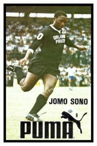 Jomo Sono of Orlando Pirates of South Africa in 1977 Puma advert.