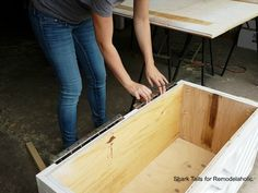 This plywood storage box is easy to build from just ONE sheet of plywood and it's perfect for storing firewood, board games, blankets and pillows, or decor. Plywood Storage, Plywood Boxes, Toy Storage Bins, Storage Boxes With Lids, Plywood Sheets, Crate Storage, Storage Spaces, Furniture Projects, Diy Furniture