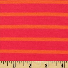Jersey Knit Yarn Dyed Stripes Hot Pink/Orange from @fabricdotcom  This yarn dyed stripe jersey knit is perfect for T-shirts, tops and loungewear. It has a soft hand, fluid drape and 25% stretch.