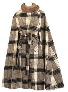 Original 1960's Irish tweed cape with real mink collar by Jimmy Hourihan--very chic!