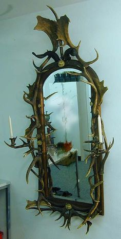 exceptional antler wall mirror with candleholders, ca. 1880
