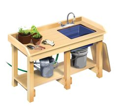 How to Build a Workbench - DIY garden potting bench with sink Potting Bench With Sink, Potting Tables, Building A Workbench, Workbench Plans, Workbench Top, Folding Workbench, Garden Sink, Garden Table, Garden Benches