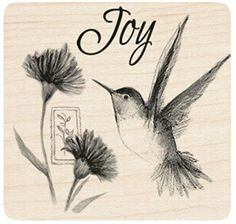 """{Single Count} Unique & Custom (3"""" Inches) """"Hummingbird, Floral Bunch & Joy Text"""" Square Shaped Genuine Wood Mounted Rubber Inking Stamp mySimple Products http://www.amazon.com/dp/B015YLXQ28/ref=cm_sw_r_pi_dp_SpwMwb1N9R481"""