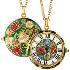 The Met Store -  Decorative Floral Enamel Pendant Watch