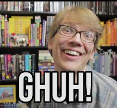 Hank Green, in a nutshell (but seriously he makes this face all the time)