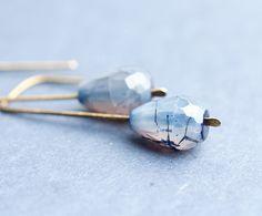 Modern Earrings Placid Blue Agate Urban Minimalist Geometric Jewelry organic eco friendly free shipping rusteam on Etsy, $23.98