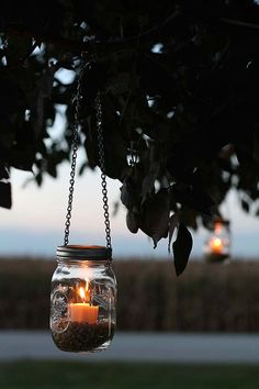 This DIY Mason Jar Lantern is so easy to make, and it looks so lovely at night. See the simple tutorial and some wonderful fall decorating ideas by Liz Fourez of Love Grows Wild... on The Home Depot Blog. || @lovegrowswildlf