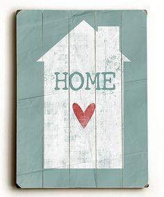 Teal 'Home' Wall Art