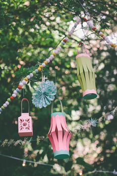 Pretty paper lanterns & garland. (photo by natalie norton)