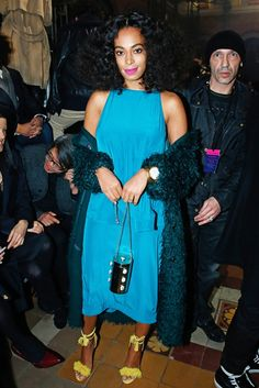 Solange Knowles in a bright blue dress at the Lavin F/W '15 show // Paris Fashion Week