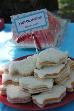 Use a cookie cutter to shape sandwiches. Fun idea for themed parties and baby showers.