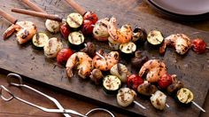 Seafood on a stick?  No, you're not at the state fair!  Paired with healthy veggies, this is backyard kabob grilling at its best.