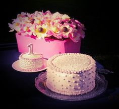 First birthday cake, smash cake and cakepop bouquet/planter. Birthday Ideas #pink #girl