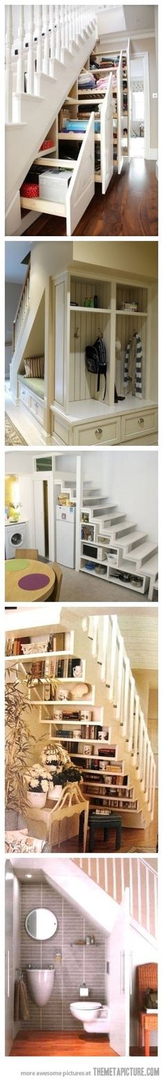 "I always hated all the wasted space under stairs.especially like the open shelves & the bed (great for a guest ""room"" spot under stairs in a finished basement) & the.well guess I really like them all! Wish I had stairs! Stair Storage, Staircase Storage, Staircase Ideas, Storage Shelves, Open Shelves, Stair Drawers, Hidden Storage, Basement Storage, Extra Storage"