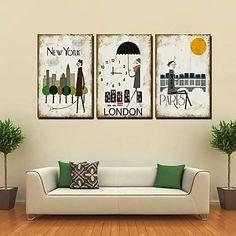 Cartoon City Wall Clock in Canvas Set of 3 528133 2017 – Wall Clock Canvas, Wall Clock Online, Antique Shops, Decoration, Modern Contemporary, Wall Art Decor, Cartoons, Cartoon City, Shopping