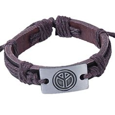 Modern Fantasy Retro Punk Metal Adjustable Christmas Brown Woven Leather Bracelet by Modern Fantasy -- Awesome products selected by Anna Churchill