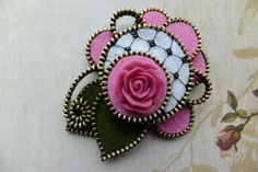 Sweet Rose Zipper Brooch