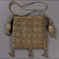 1600-1625, Europe - Drawstring bag - Embroidery with silk and silver and gold metallic threads Braided silk and metallic cords and tassels