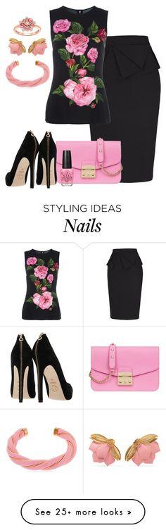 """Grace Karin Slim Vintage Pencil Skirt - Black"" by crazy4orcas on Polyvore featuring Dolce&Gabbana, Furla, OPI, Aurélie Bidermann, Oscar de la Renta, London Road and vintage"