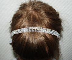 White sparkly wedding headband for kids, flower girl, wedding jewelry by leonorafi on Etsy