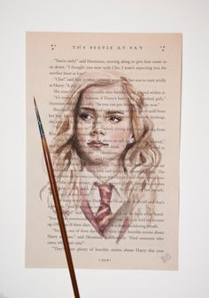 ORIGINAL Hermione Granger Watercolor Harry Potter Book Page Illustration - Harry Potter and the Order of the Phoenix by TheBookPainter on Etsy https://www.etsy.com/listing/489856954/original-hermione-granger-watercolor