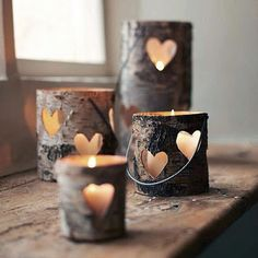 Candles are infallible piece of home decoration. It gives your home lovely romantic look, and kinda heartwarming feeling! There is always option to buy some cool designs of candle holders, but you can be a little creative and handy, and make you Creative Crafts, Diy Crafts, Paper Crafts, Creative Ideas, Tree Crafts, Homemade Crafts, Deco Nature, Heart Tree, Idee Diy