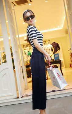 Stripes + Skirt | Duchess Fashion: Malaysia Online Clothes Shopping: Side Pleated Wool Knit Skirt