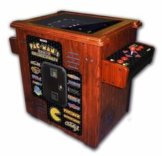 dream arcade~~The Anniversary Authentic Pac-Man Arcade Cocktail Table. DescriptionArcade GamesLifetime Guarantee Made by Namco, designers of the original Pac-Man video game, this arcade cocktail table commemorates the anniversary of Pac-Man and i Video Game Machines, Arcade Game Machines, Arcade Machine, Vending Machines, Arcade Games, Pinball Games, Pixel Pacman, Pacman 2, Pac Man Videos