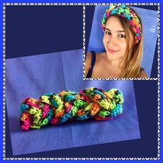 A personal favorite from my Etsy shop and one of my creations on sale at https://www.etsy.com/listing/507872228/headband-braided-crochet-neon-rainbow