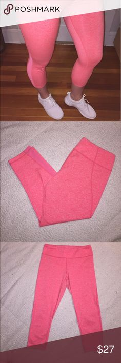 Zella neon coral mesh crops size Medium Zella workout crops size medium. These are a bright neon coral color and are perfect for a spring/summer workout! They have a semi marled print with mesh paneling on the sides from the mid calf down. These are mid rise. Good condition Zella Pants Leggings