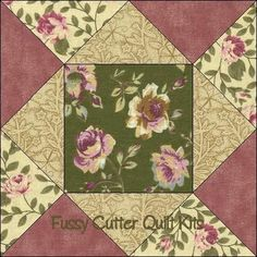 Sage Pink Gold Roses Shabby Chic Fabric Easy Pre-Cut Quilt Blocks Squares Kit