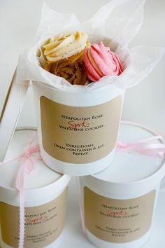 Neopolitan rose spritz cookies with marshmallow buttercream. So pretty and I love the packaging!
