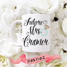 FUTURE MRS Mug / Custom Last Name Cute Gift for Engagement or Bridal Shower Favor Bride Wife Personalized 11 oz or 15 oz Ceramic by MJsBridalSupport on Etsy https://www.etsy.com/listing/244426591/future-mrs-mug-custom-last-name-cute