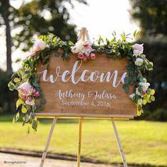 Wedding Welcome Sign, Wedding Decoration, Wedding Wood Sign, Wood Wedding Sign, Wood Welcome Sign, Wedding Gift, Custom wood Sign by AshtinCreations on Etsy https://www.etsy.com/listing/472308522/wedding-welcome-sign-wedding-decoration