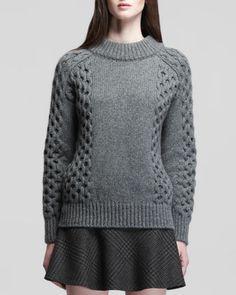 Belstaff Aldfor Belted Check Miniskirt and Milton Honeycomb-Knit Cashmere Pullover - Bergdorf Goodman